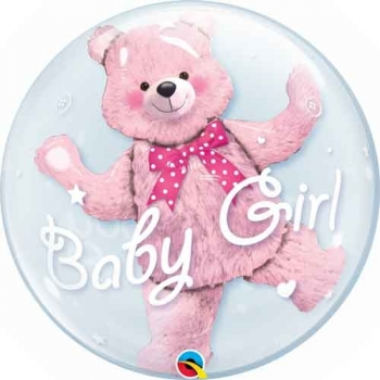 "24"" Dble Bubble - Baby Pink Bear"