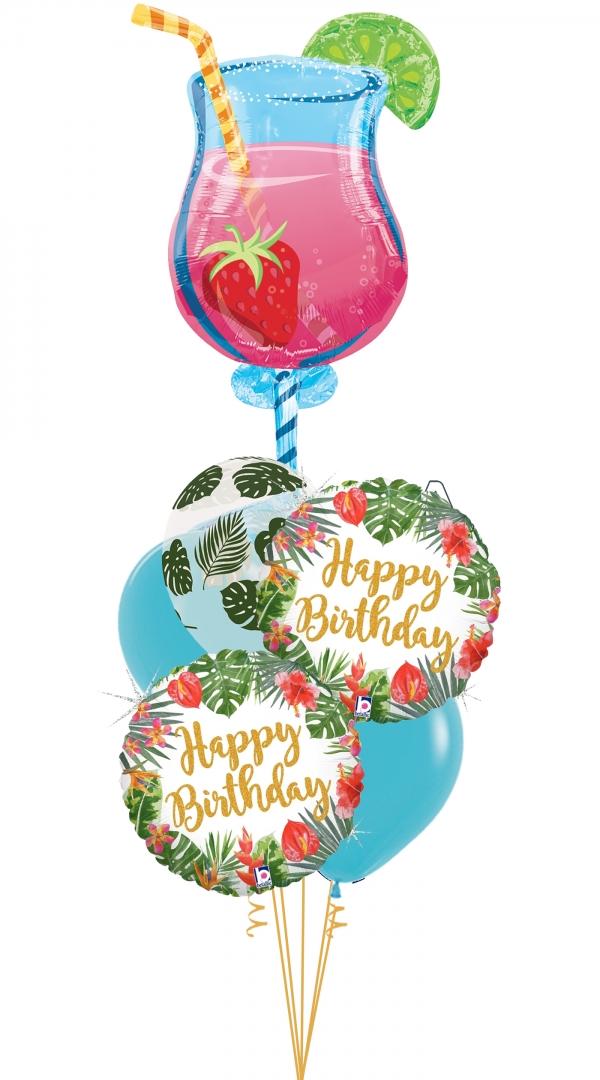 Tropical Drink Happy Birthday Bouquet Balloons Vancouver Jc Balloon Studio